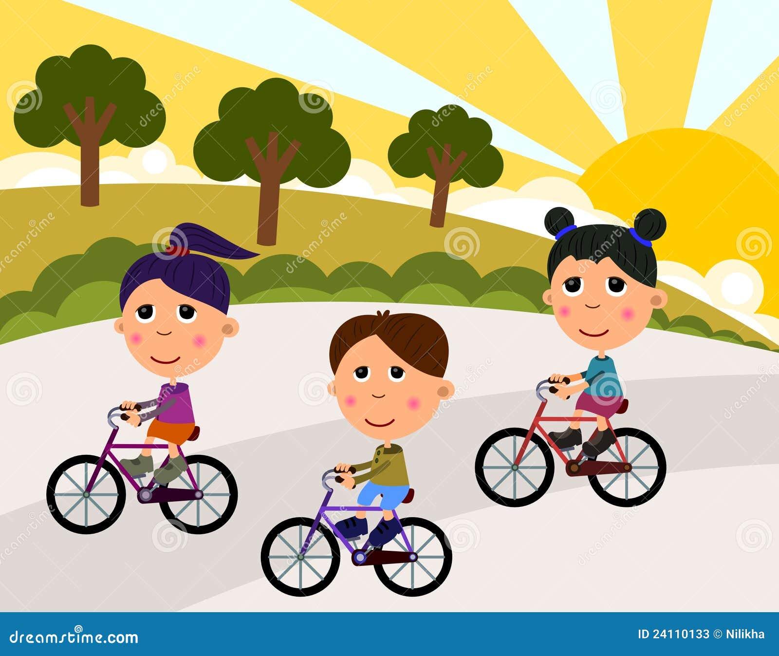 Kids Riding A Bike Stock Illustration Illustration Of Race