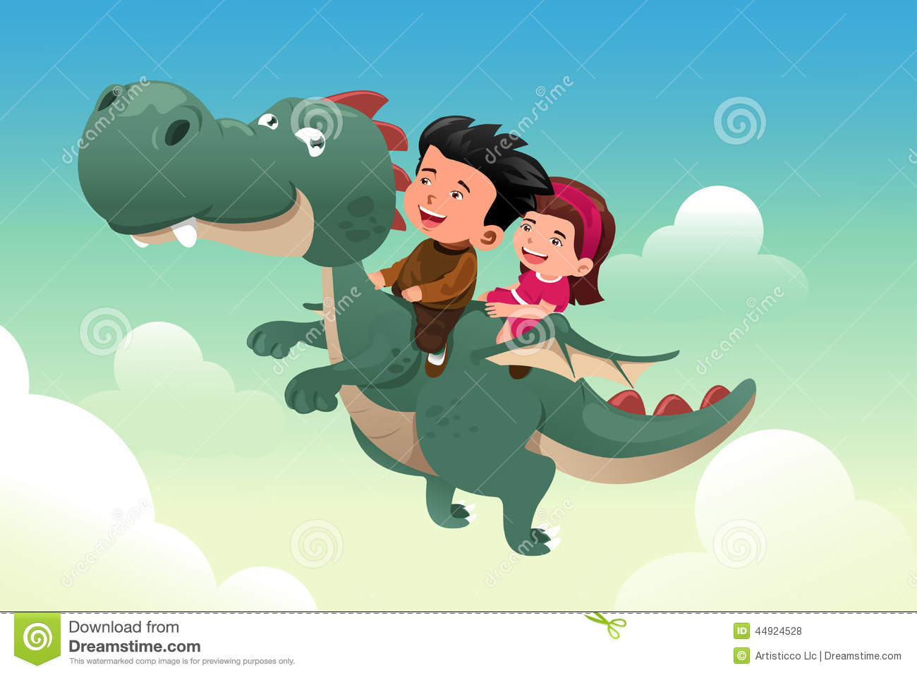 Kids Riding On A Cute Dragon Stock Vector Image 44924528