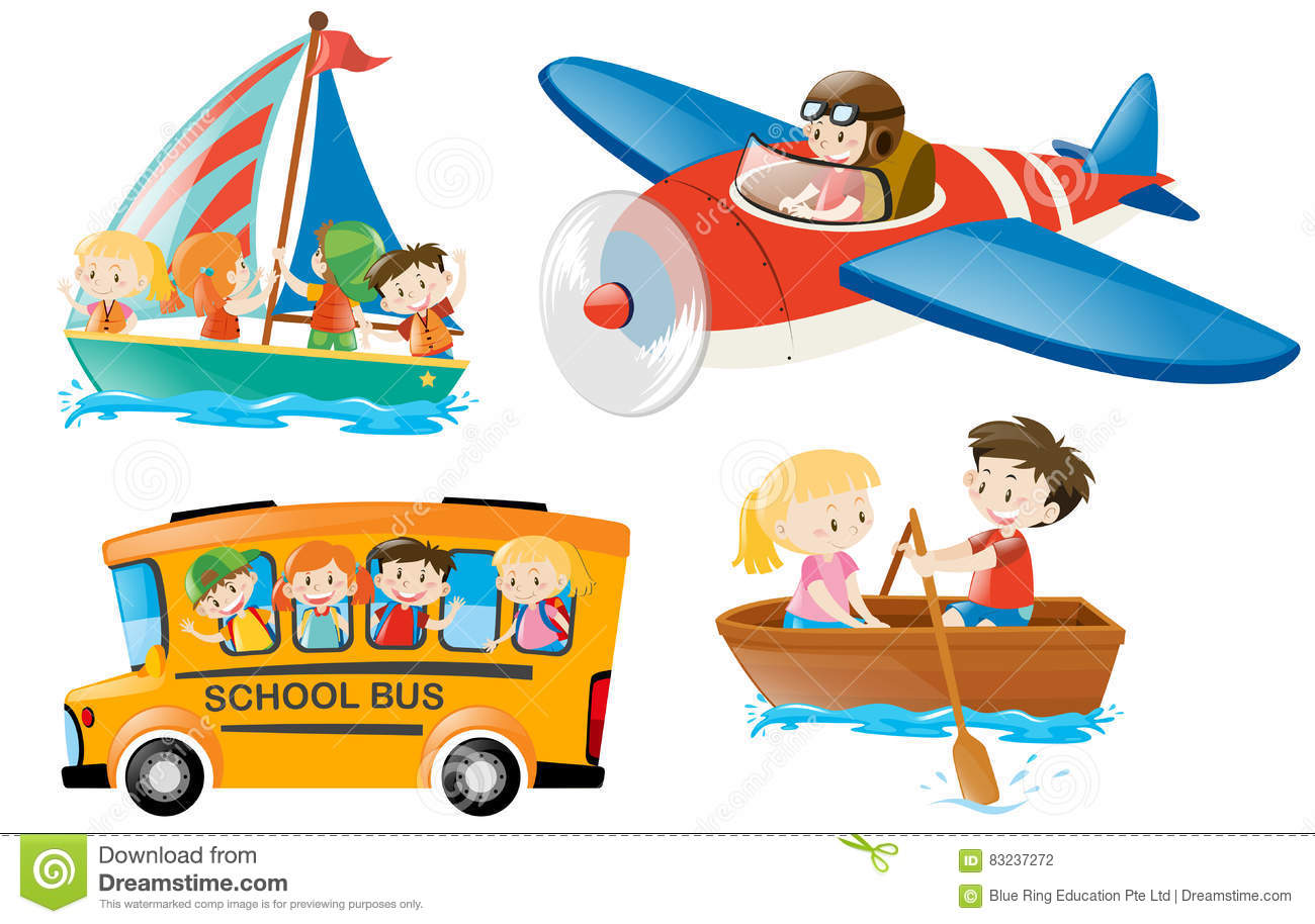 Kids Riding On Different Types Of Transportation Stock