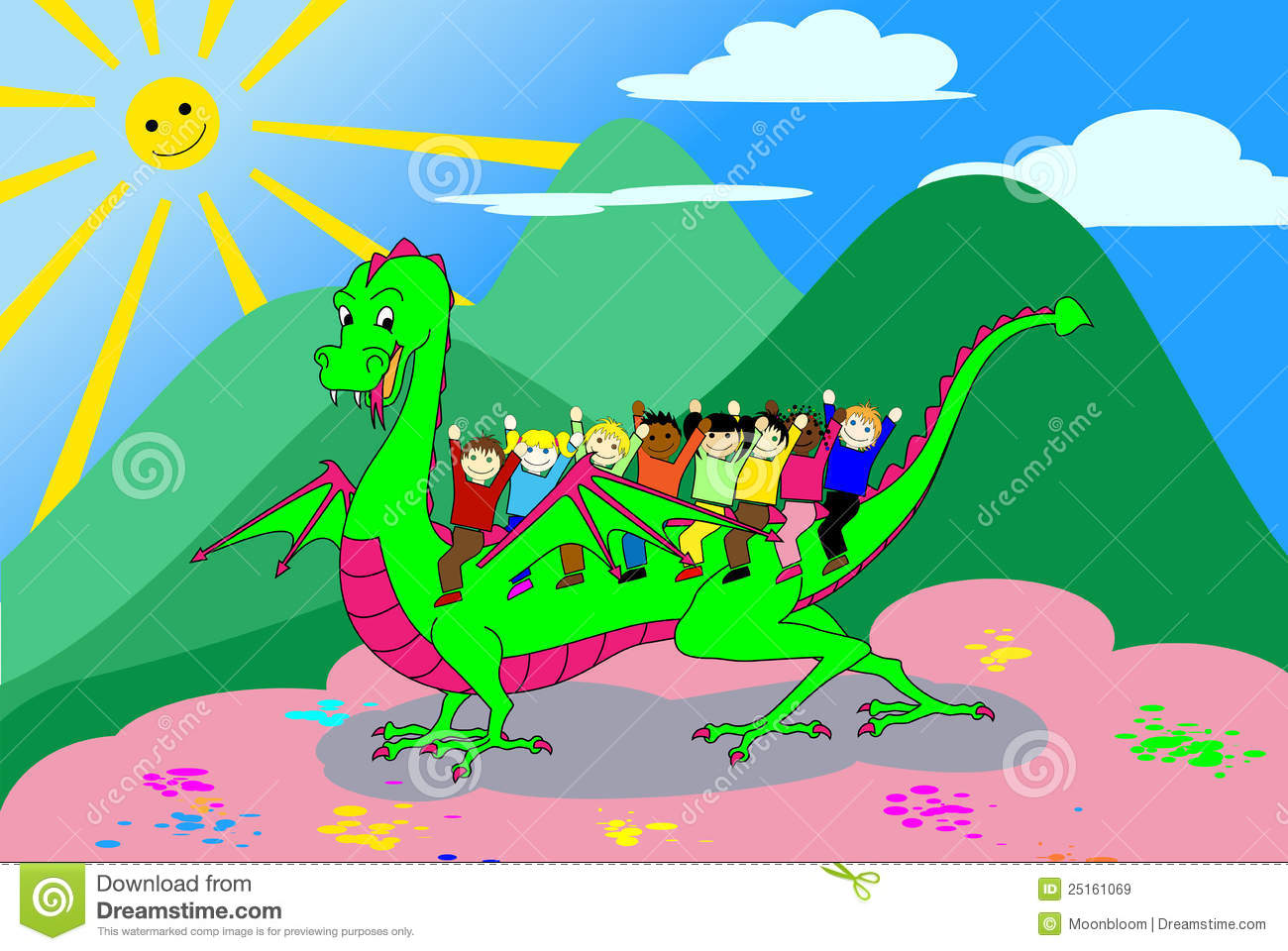 kids riding the dragon with clipping path royalty free stock