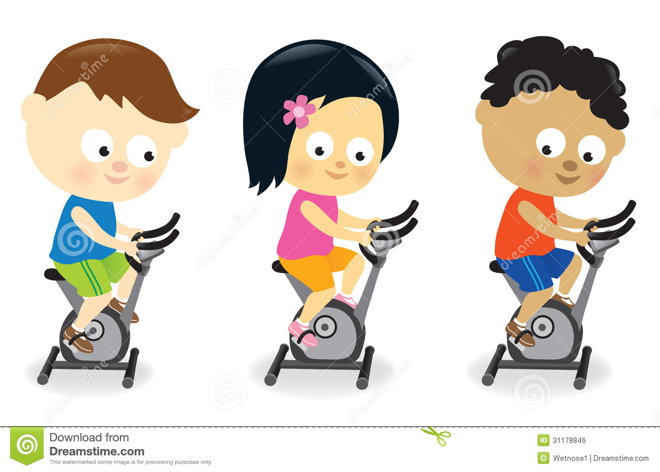 Kids riding exercise bikes stock vector Illustration of cycling