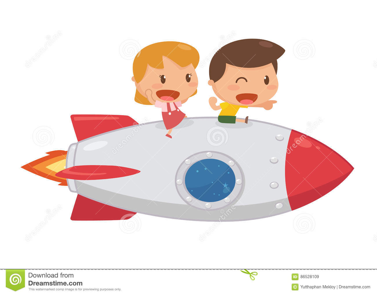 Kids Riding On A Rocket. Stock Illustration. Image Of