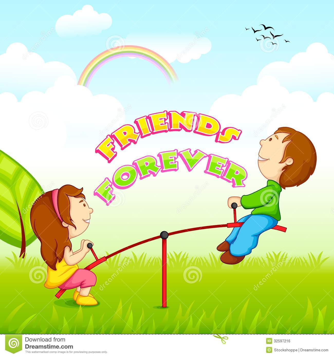 Kids Riding On Seesaw For Friendship Day Royalty Free