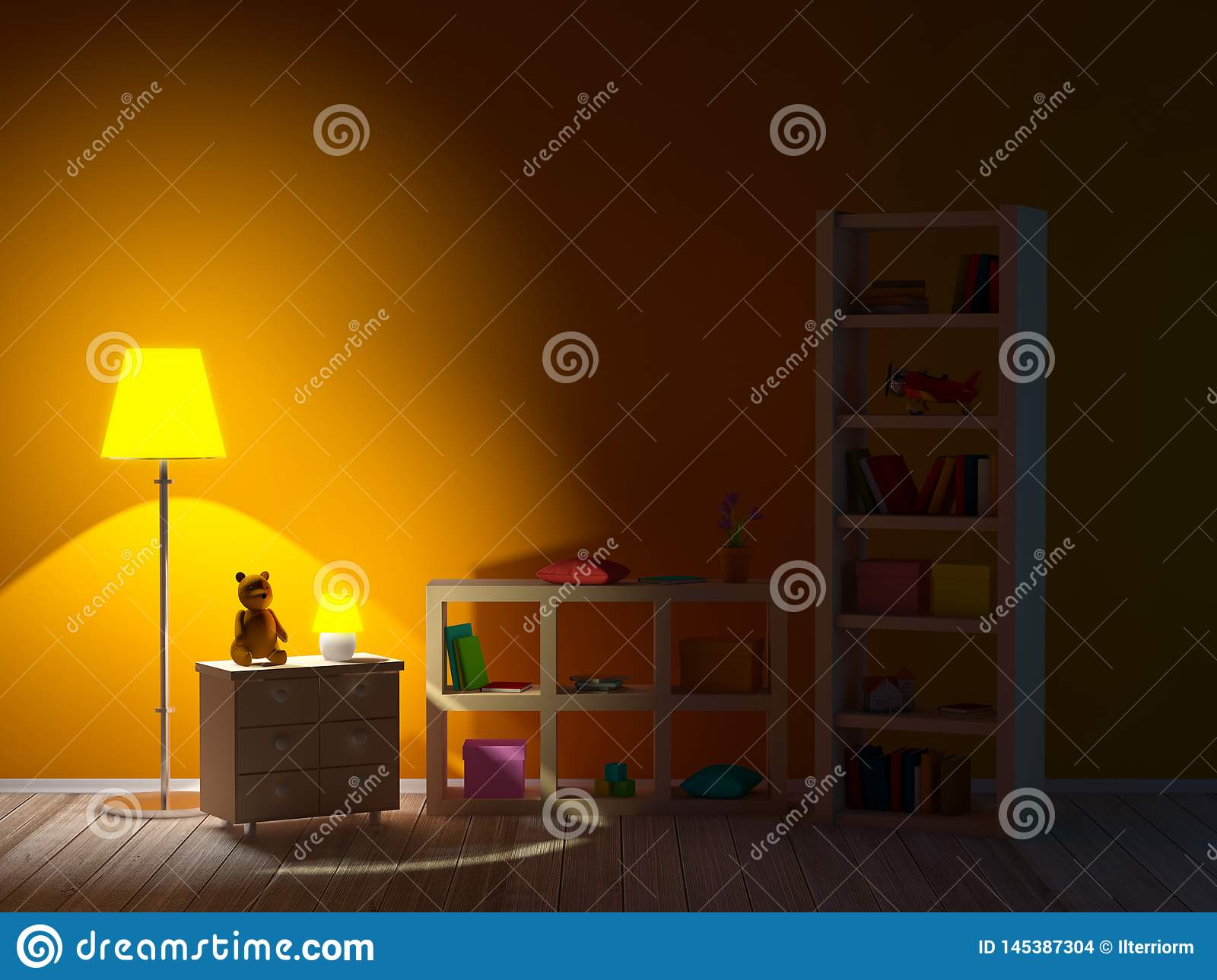 Kids Room With Bookcases Night Stock Illustration