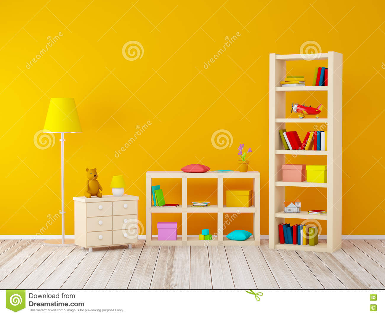 Kids Room With Bookcases Stock Illustration Illustration Of