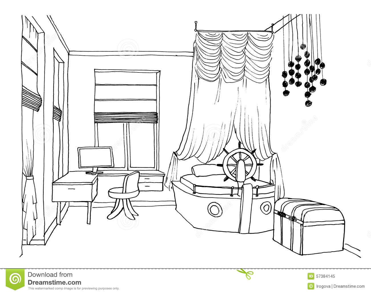 Kids Bedroom Drawing kids room graphical sketch stock illustration - image: 57384145