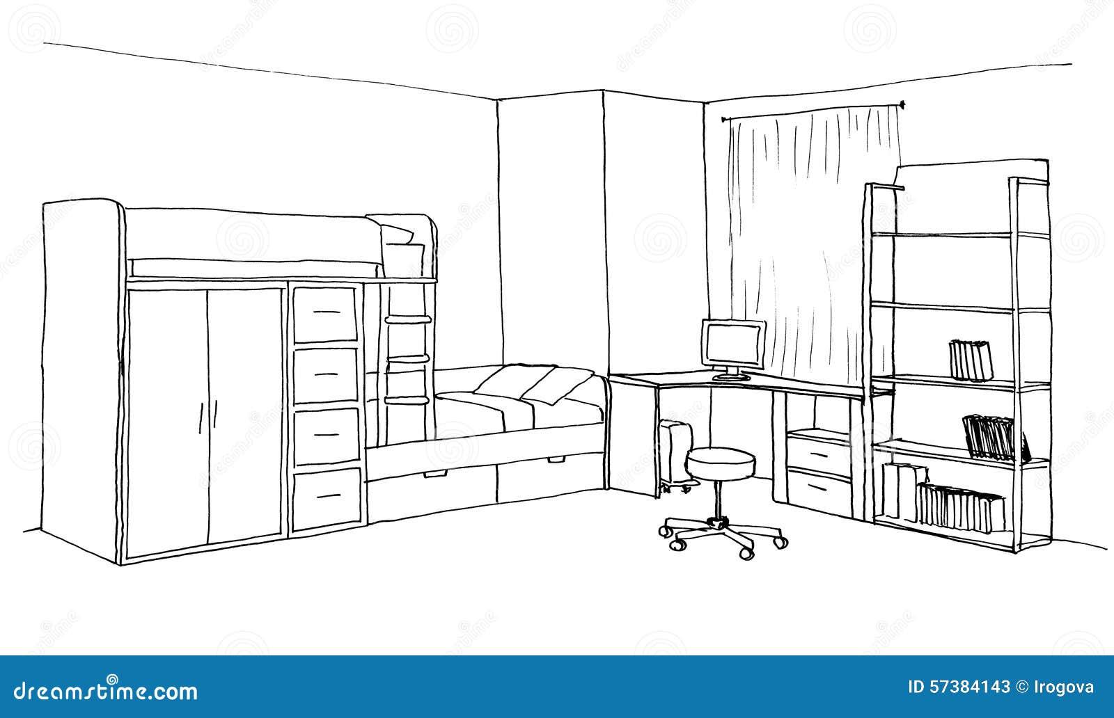 kids room graphical sketch stock illustration image