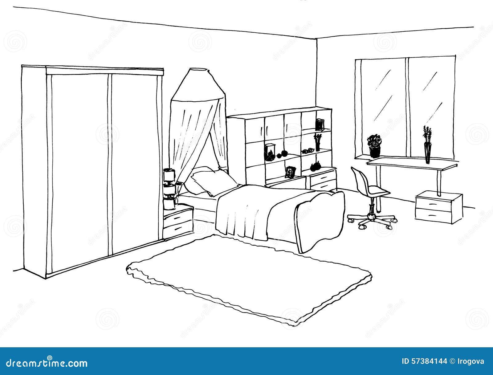 Нарисованная детская комната с мебелью