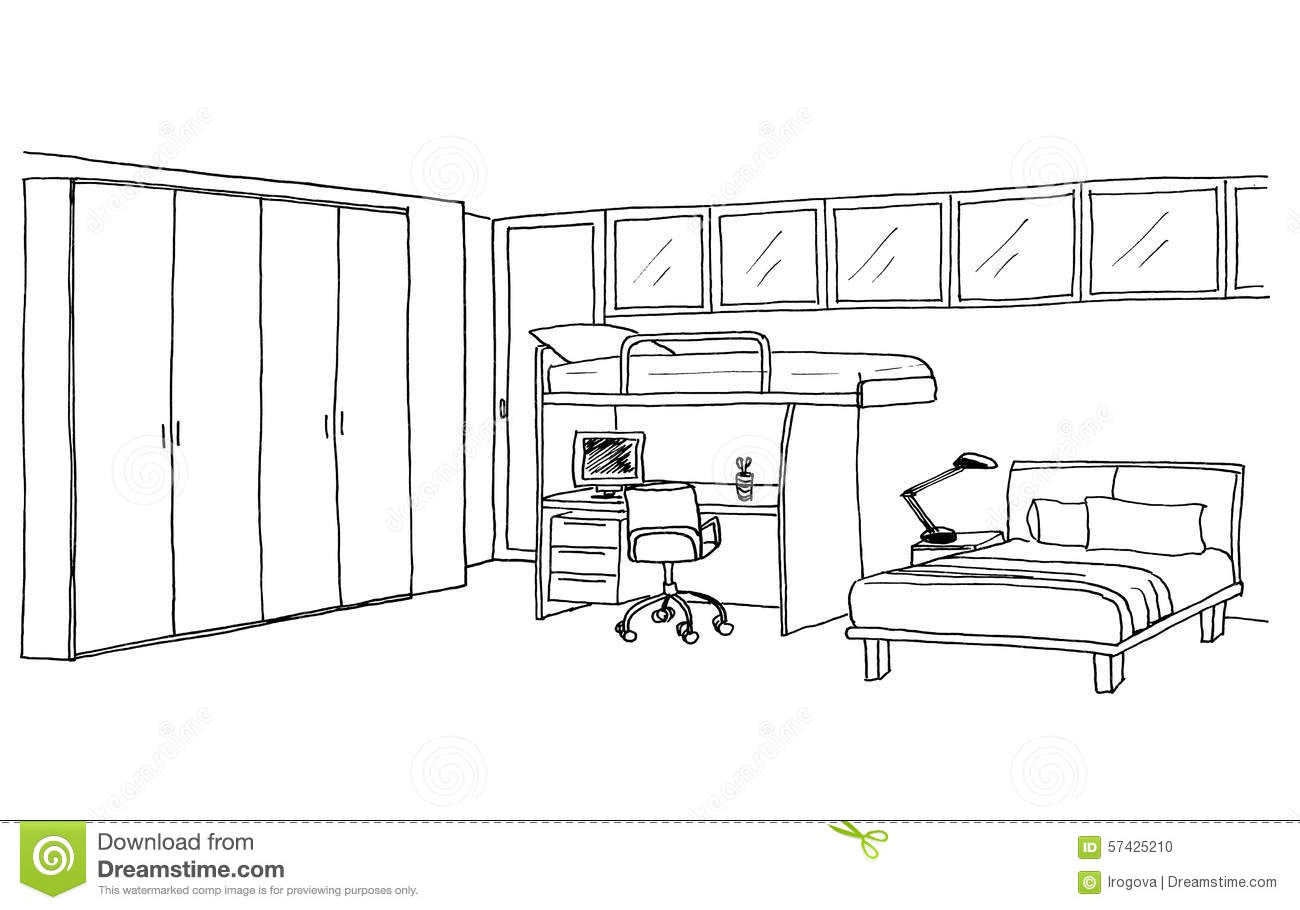 Kids Bedroom Drawing kids room, graphical sketch stock illustration - image: 57425210