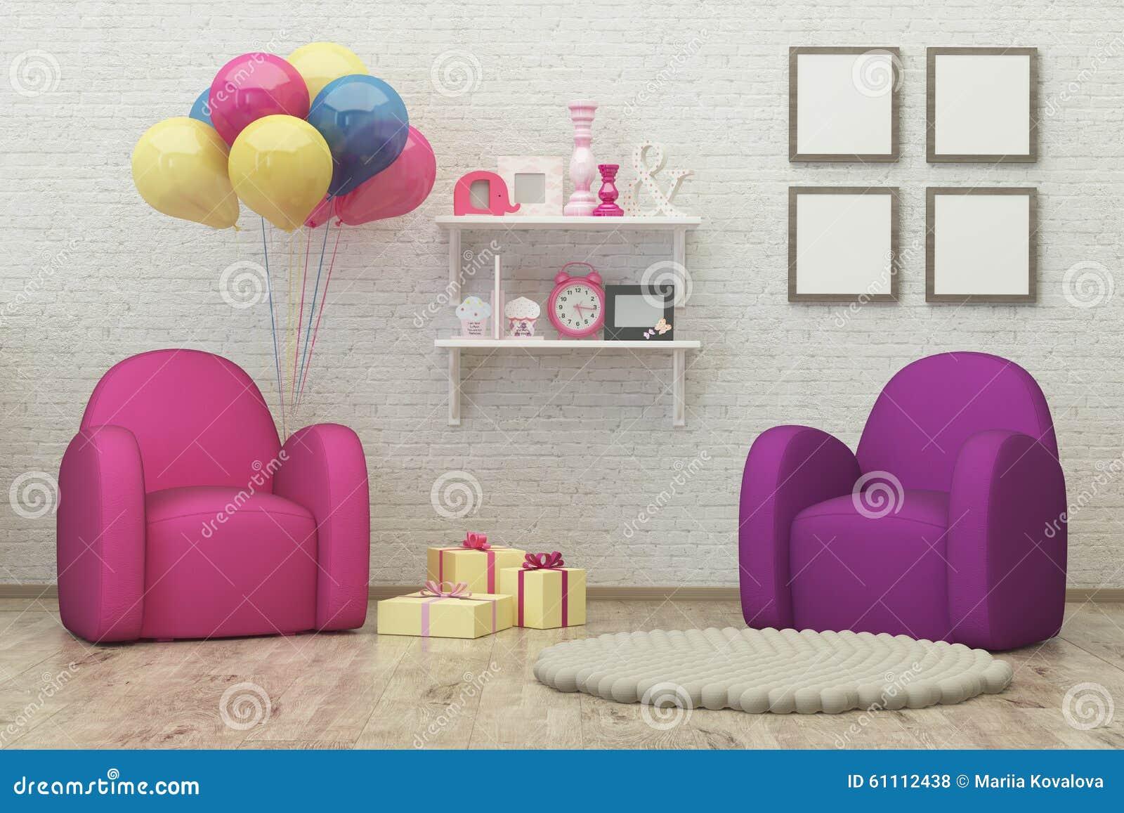 kids room interior 3d render image, pouf,balloons stock