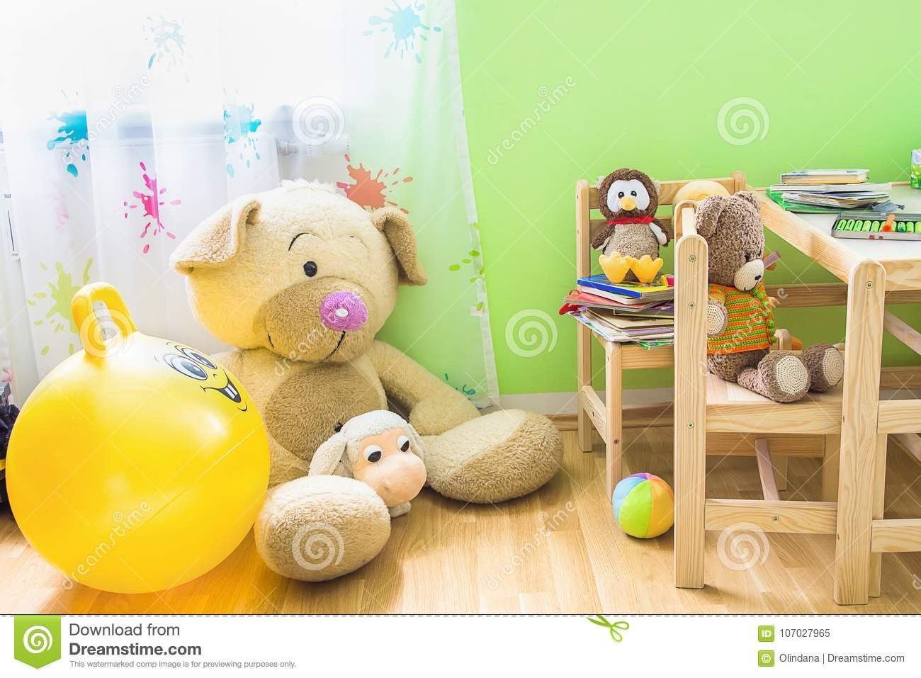 Kids Room Interior with Wooden Furniture Set. Teddy Bear on Chair Big Plush Toys Books Crayons on Table.