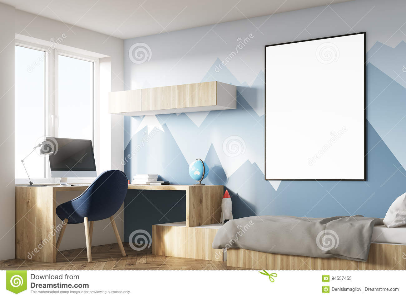 Good Wallpaper Mountain Room - kids-room-poster-mountain-corner-interior-hanging-above-bed-bookshelves-blue-chair-wallpaper-d-rendering-mock-94557455  Picture_391613.jpg
