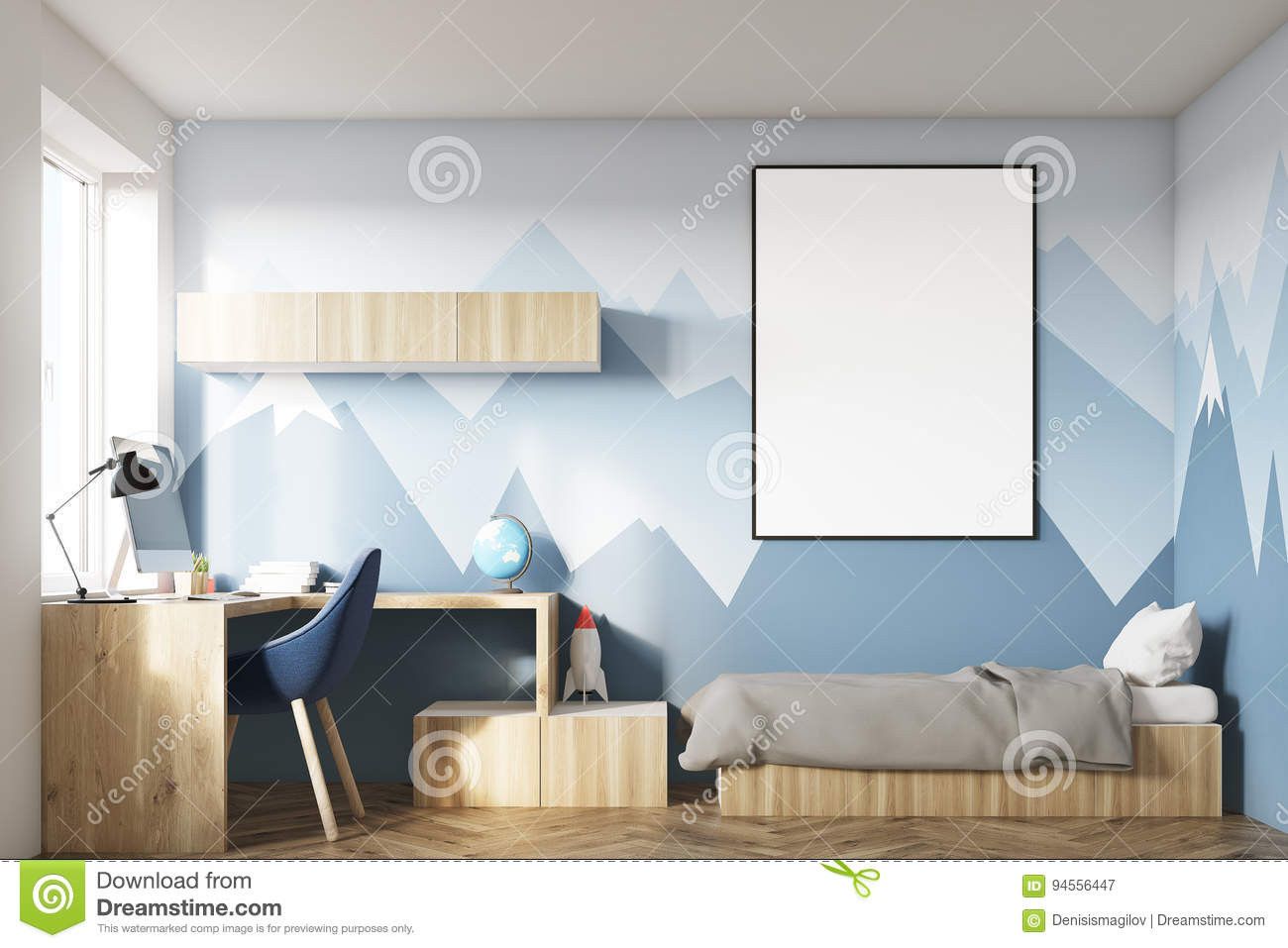 Simple Wallpaper Mountain Room - kids-room-poster-mountain-wall-interior-hanging-above-bed-bookshelves-blue-chair-wallpaper-d-rendering-mock-up-94556447  Best Photo Reference_139337.jpg