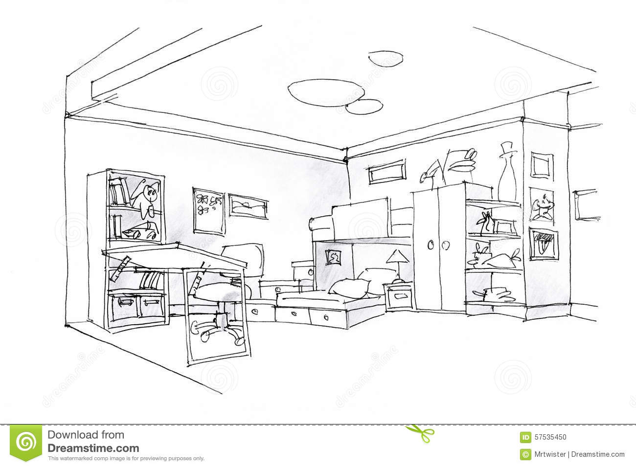Teen Boys Bedroom Decorating Ideas Kids Room Sketch In Black And White Stock Illustration