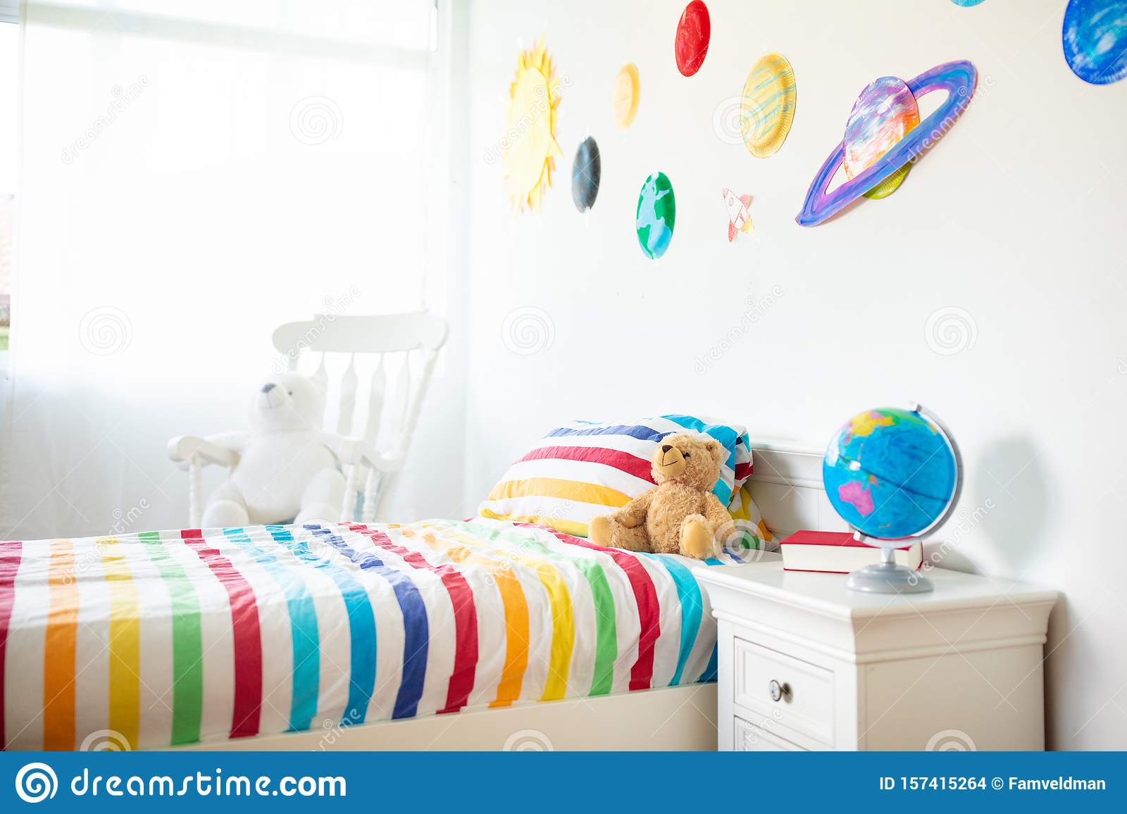 Kids Room With Space Decoration Child Bedroom Stock Photo Image Of Decor Blanket 157415264