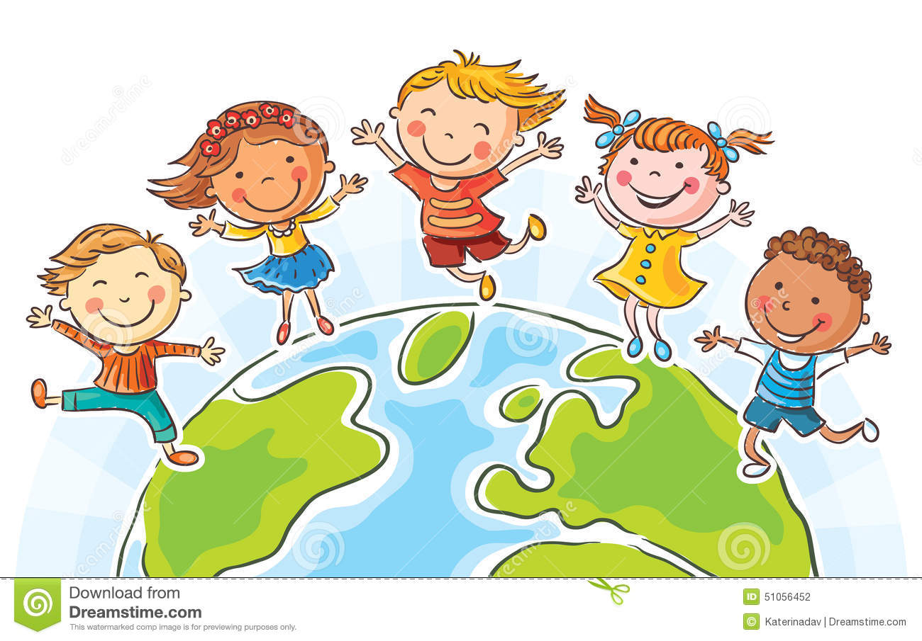 kids round the globe stock vector image 51056452 Holding Hands Drawing kids holding hands clip art border