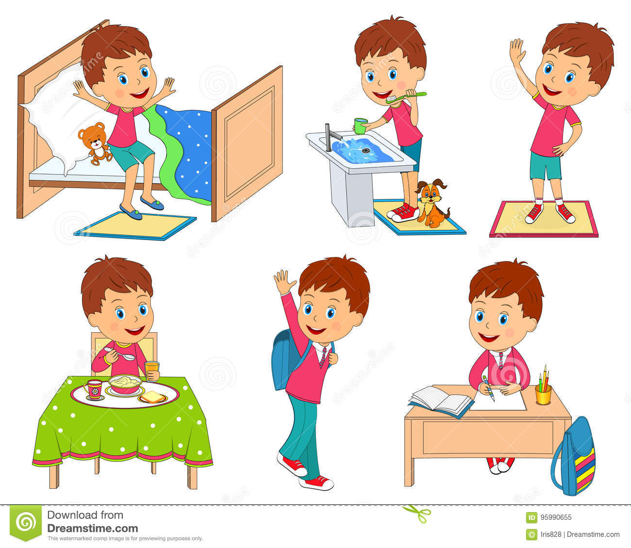 Kids Daily Routine Stock Vector Illustration Of Cute