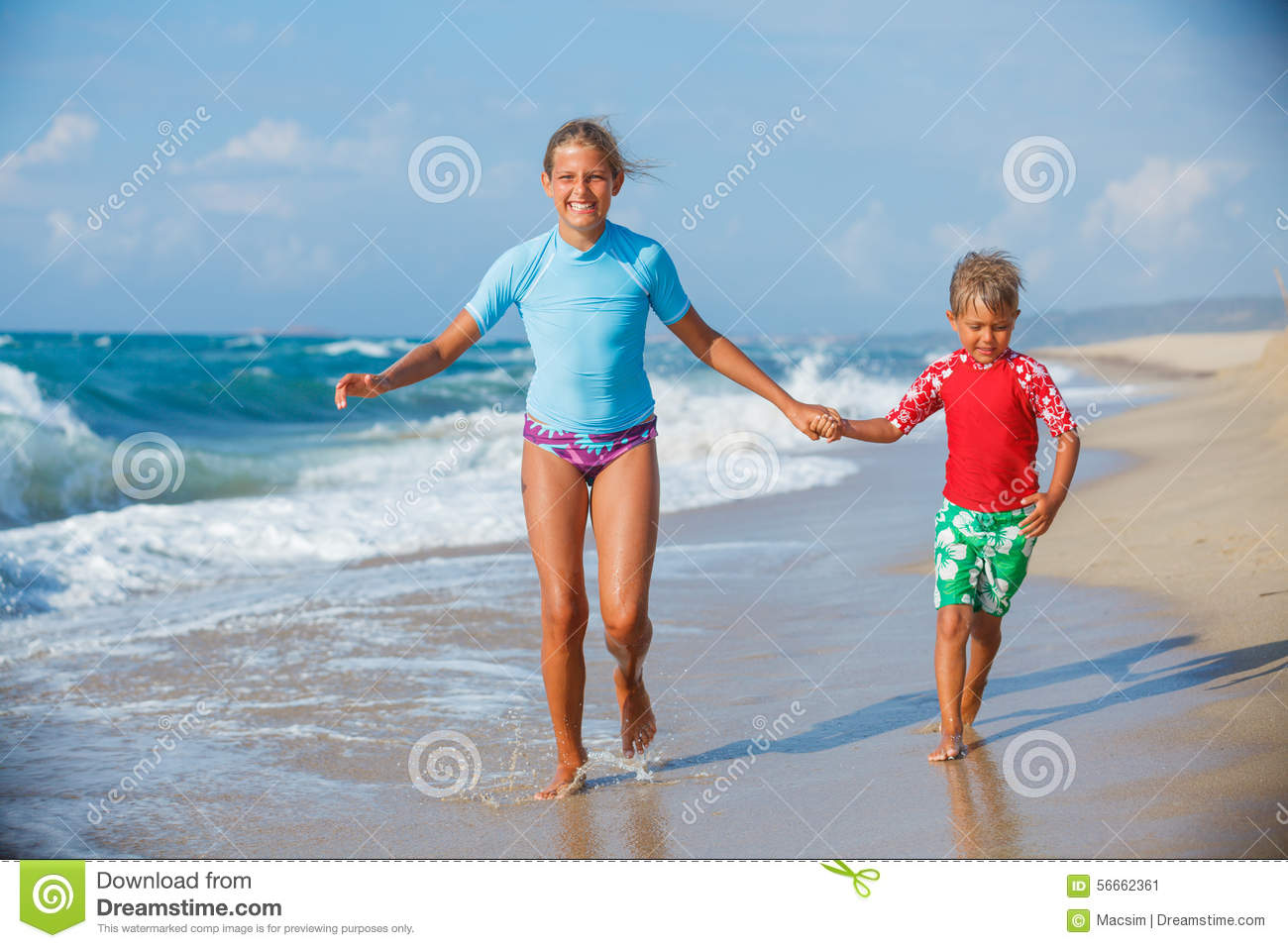 Kids Running At Beach