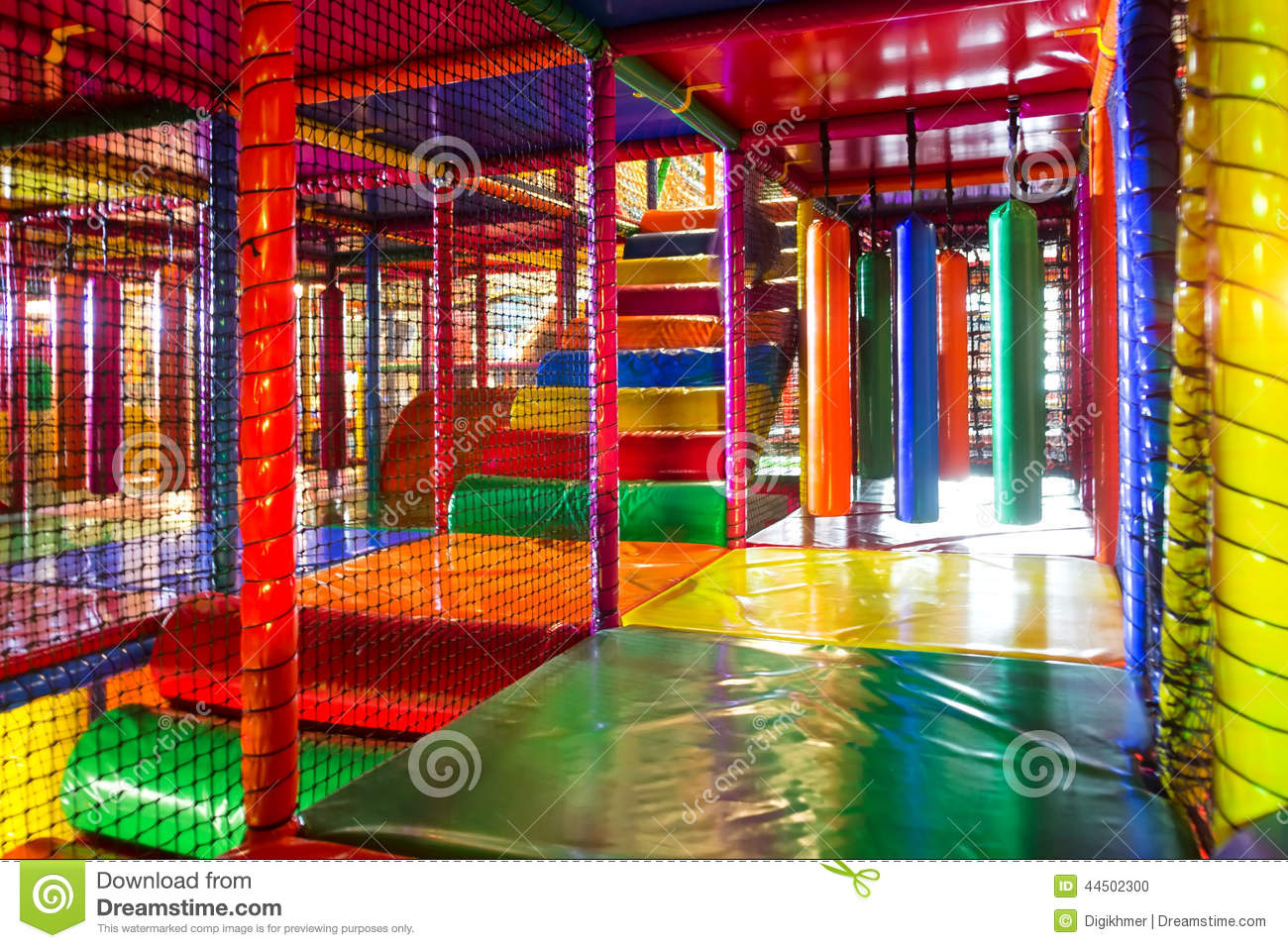 Kids Running Inside A Colorful Indoor Playground Stock ...