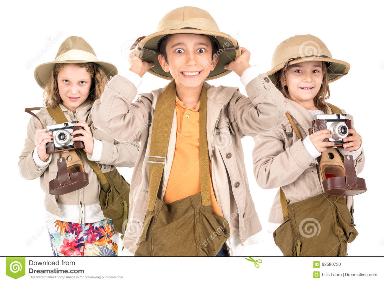 Kids in safari clothes