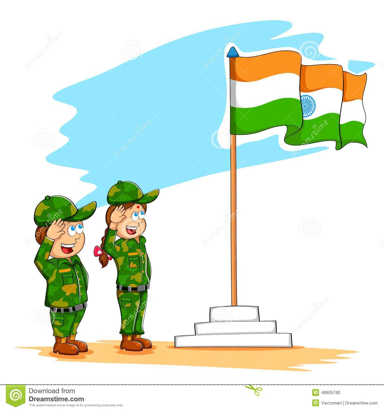 Kids Saluting Indian Flag Stock Vector - Image: 48905760