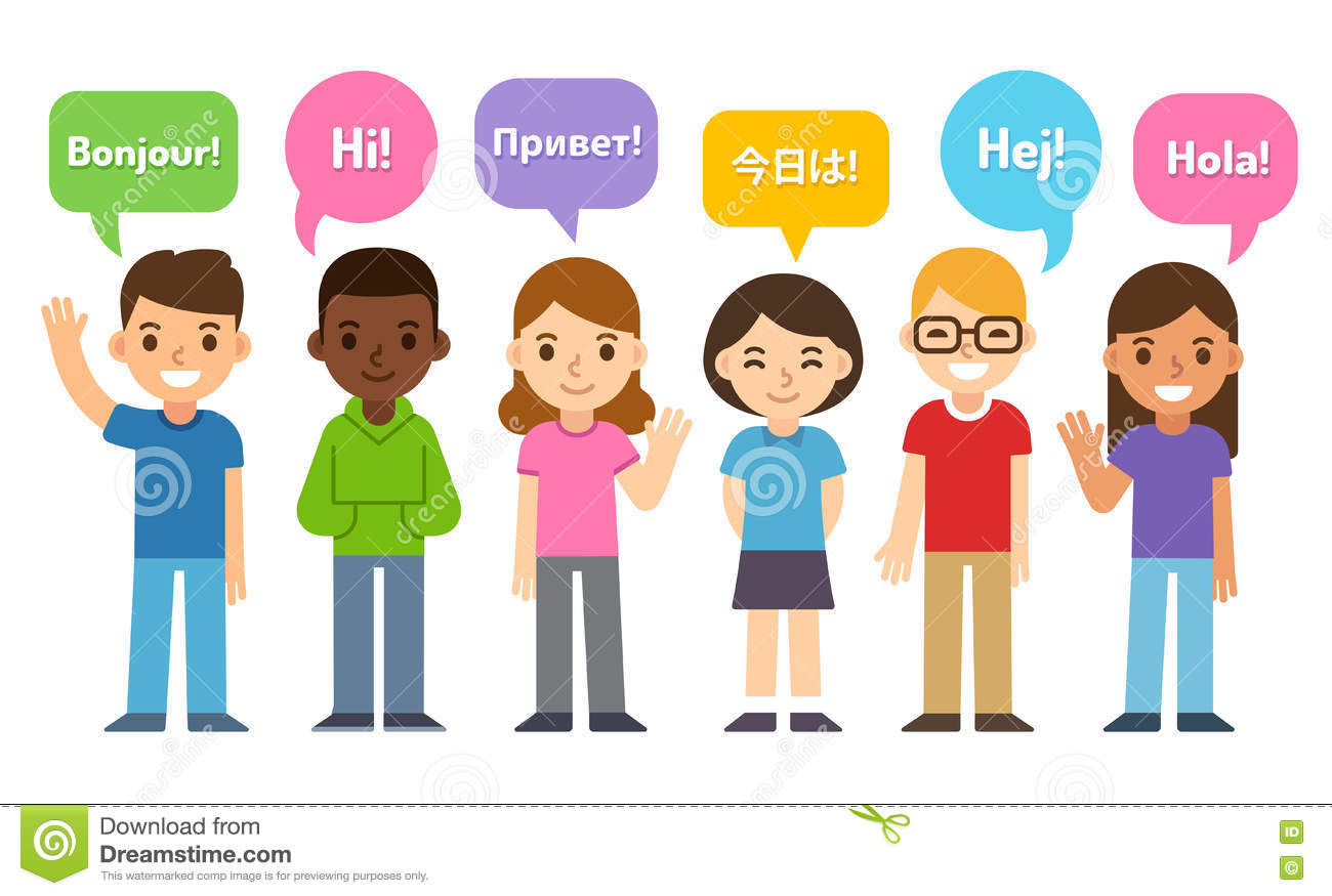 Kids Saying Hi In Different Languages Stock Vector - Image: 75064260