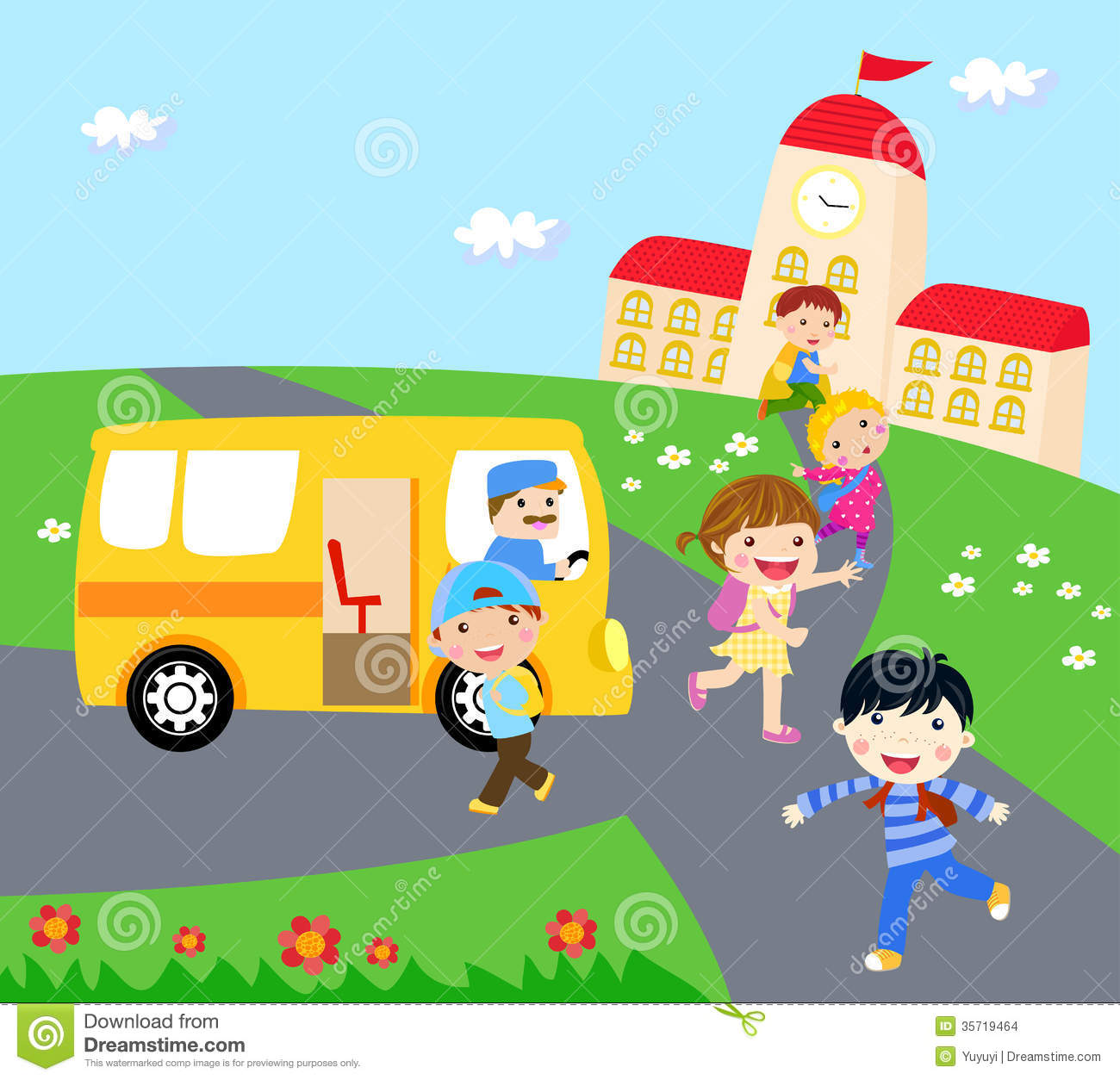 Kids And School Bus Stock Vector Illustration Of Lesson 35719464