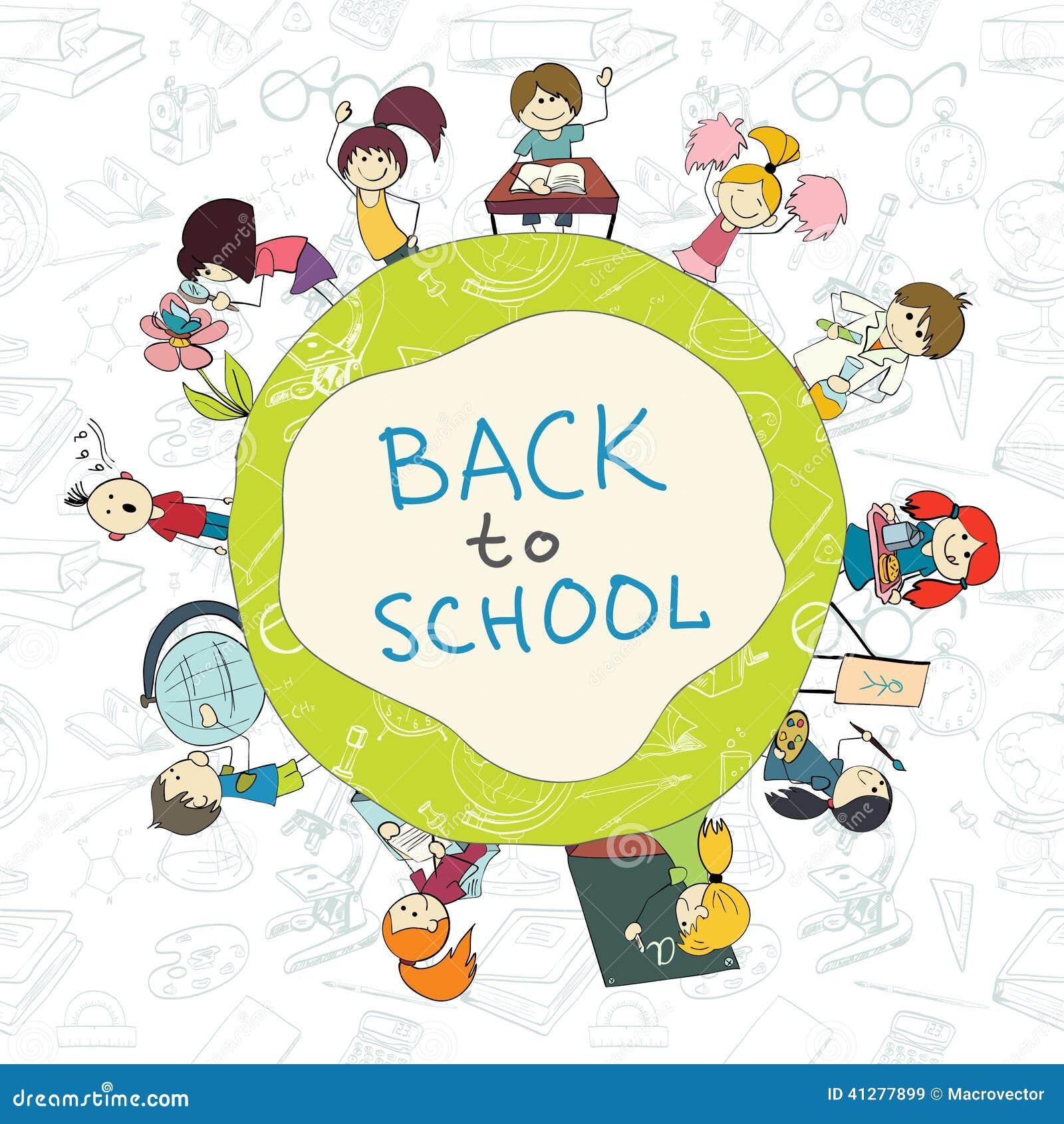 Book Cover Design Cartoon : Kids school emblem sketch poster stock vector image