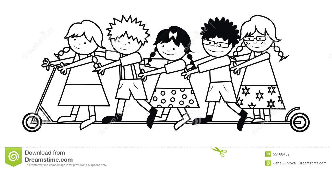 kids scooter coloring royalty free stock images - Coloring Pictures Of Children