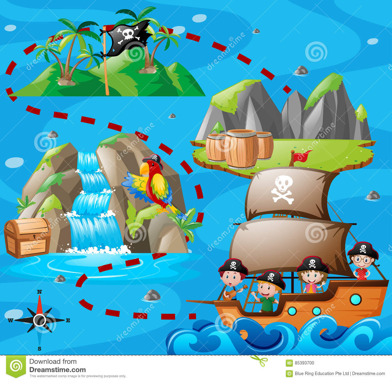 Kids On Ship And Adventure Map Stock Vector - Illustration of adventure, pupil: 85393700