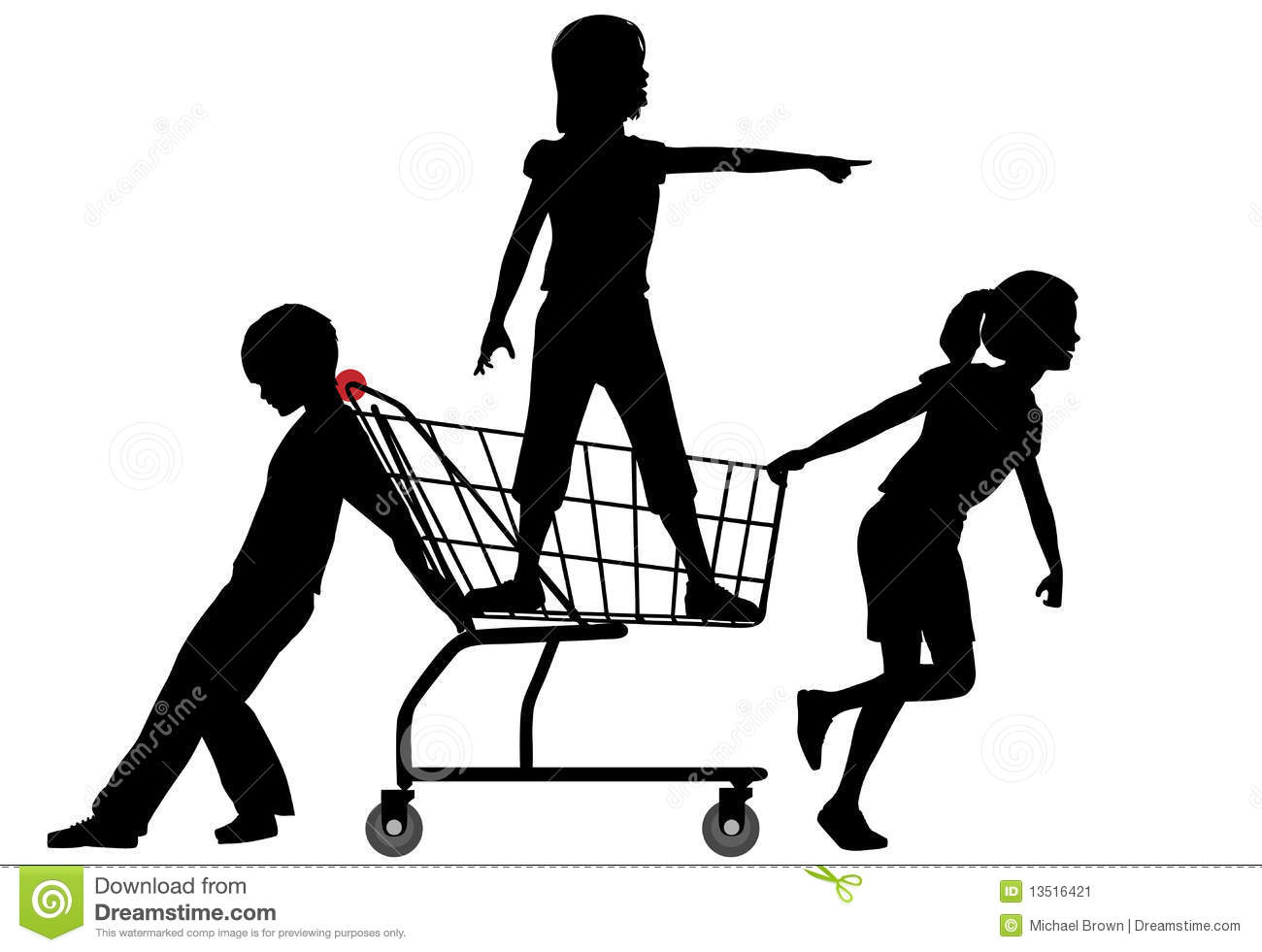 Three kids get a shopping cart rolling in a big shopping spree ...