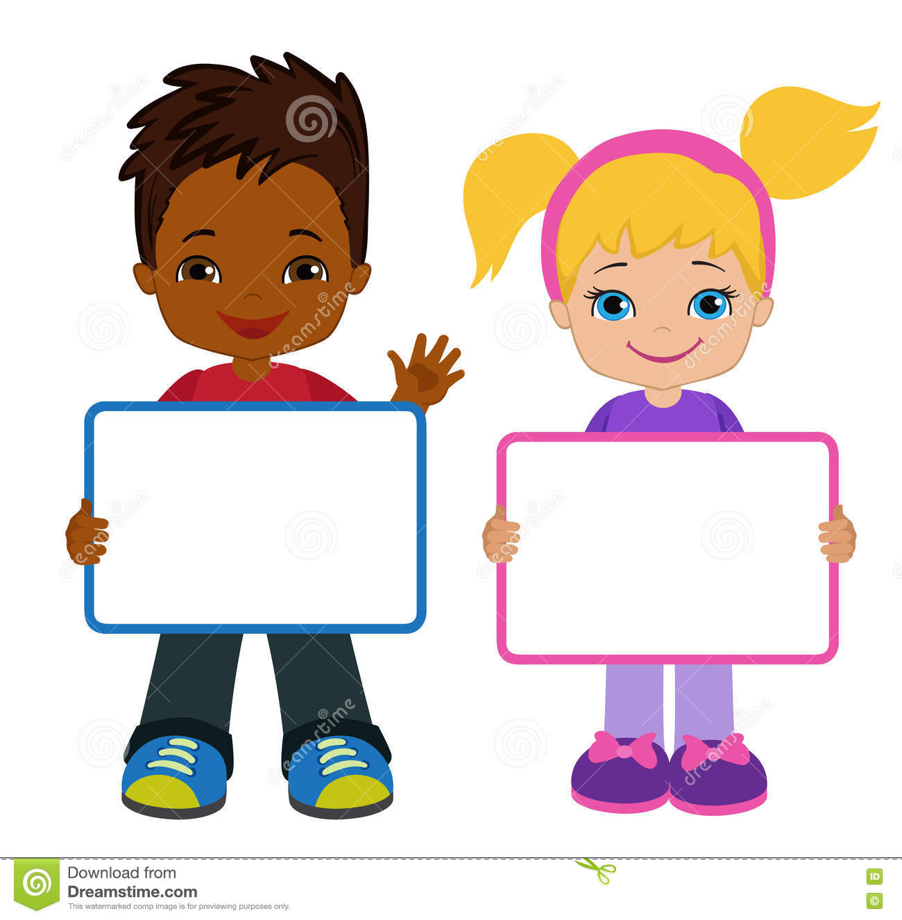 kids with signs bricht kids frame board clipart child meeting rh dreamstime com clipart child thinking clipart children reading