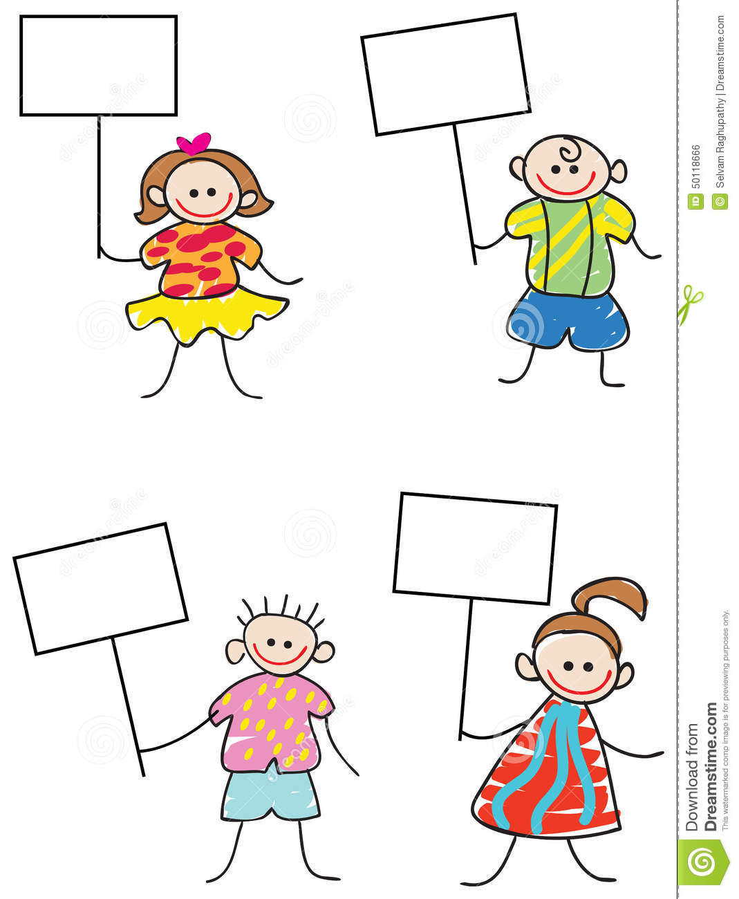 kids with signs stock vector image 50118666