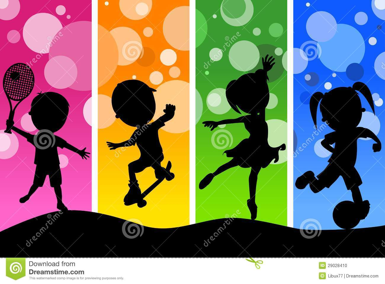 Sport Wallpaper Cartoon: Kids Silhouettes Playing Sports Background Stock Vector