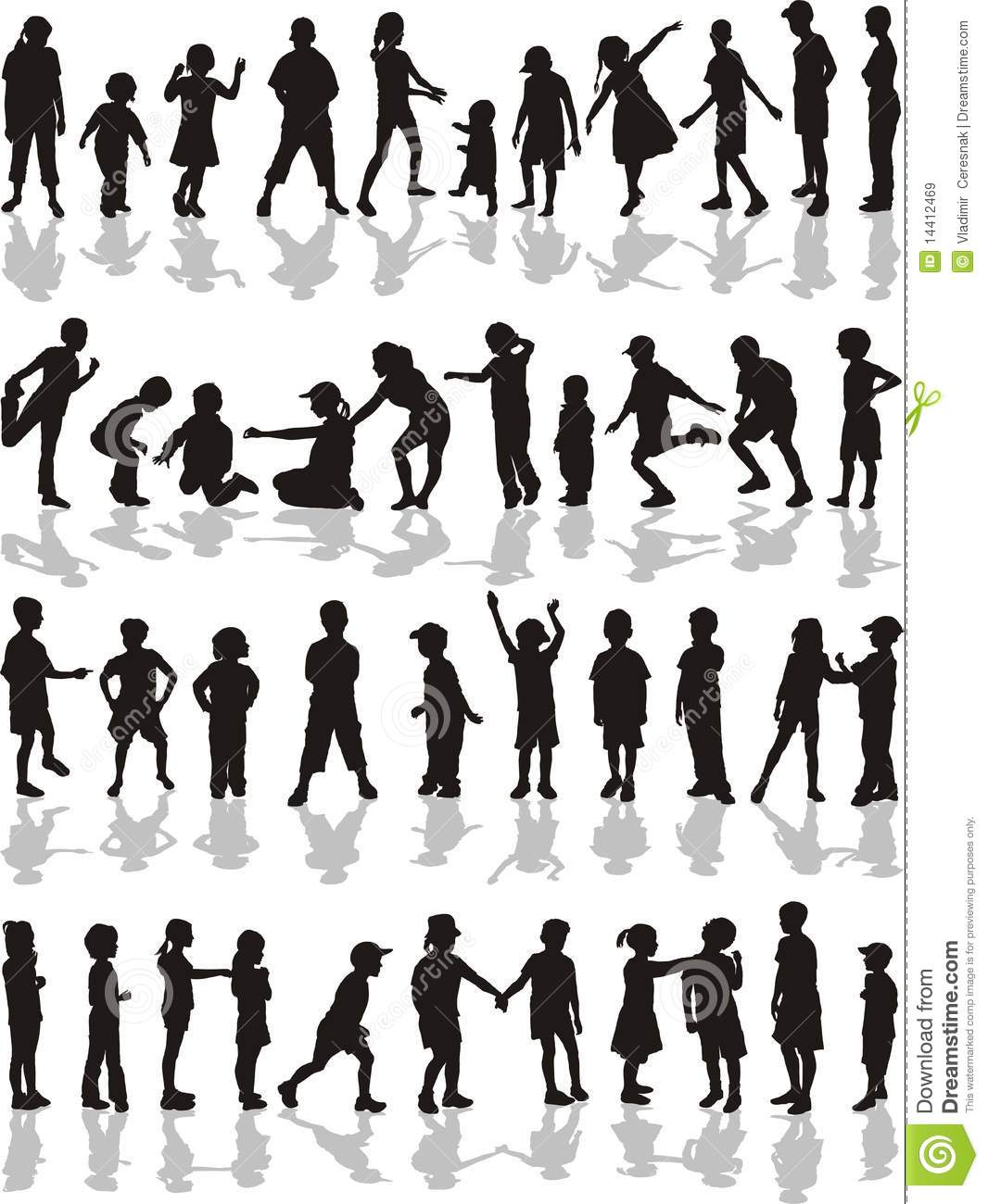 Kids Silhouettes Vector Illustration Royalty Free Stock