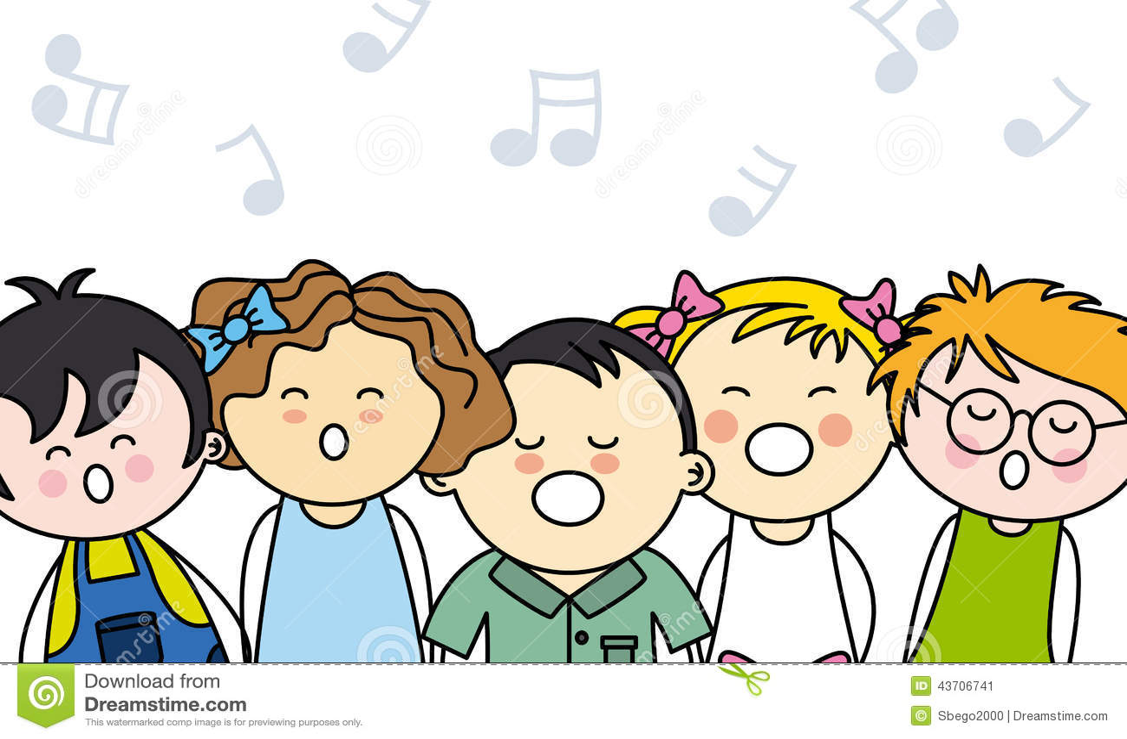 Kids singing stock vector. Illustration of choir, school ...