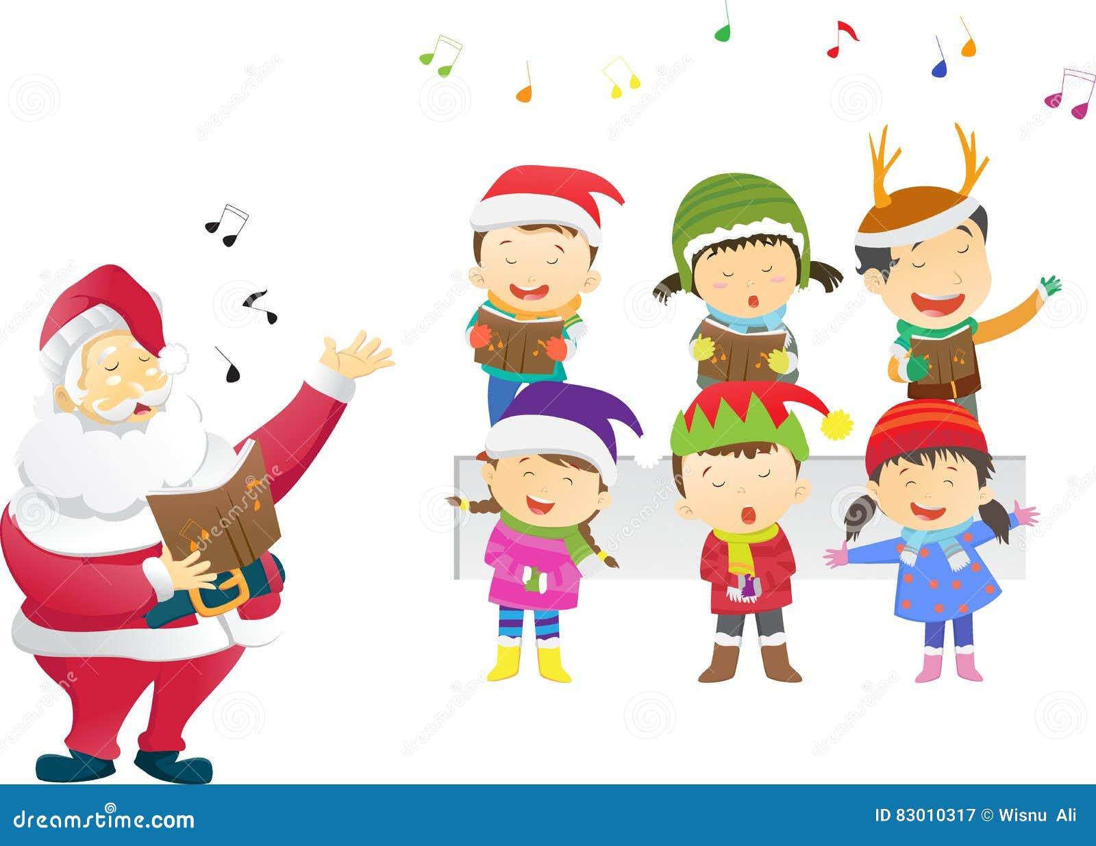 90c367d66e9bd Kids Singing Christmas Carols With Santa Stock Vector Illustration
