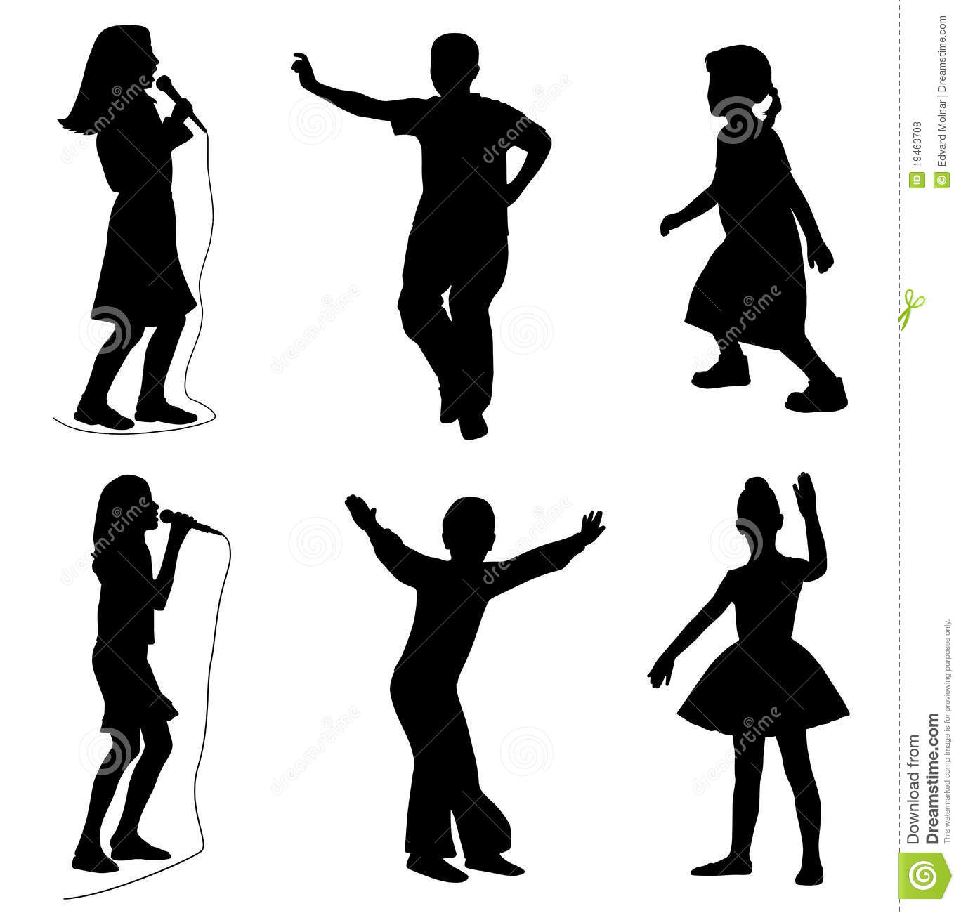 Illustration of kids singing and dancing. Isolated white background ...