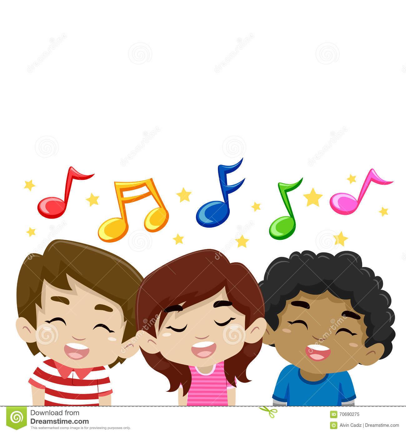 Kids Singing With Music Notes Stock Vector Image 70690275