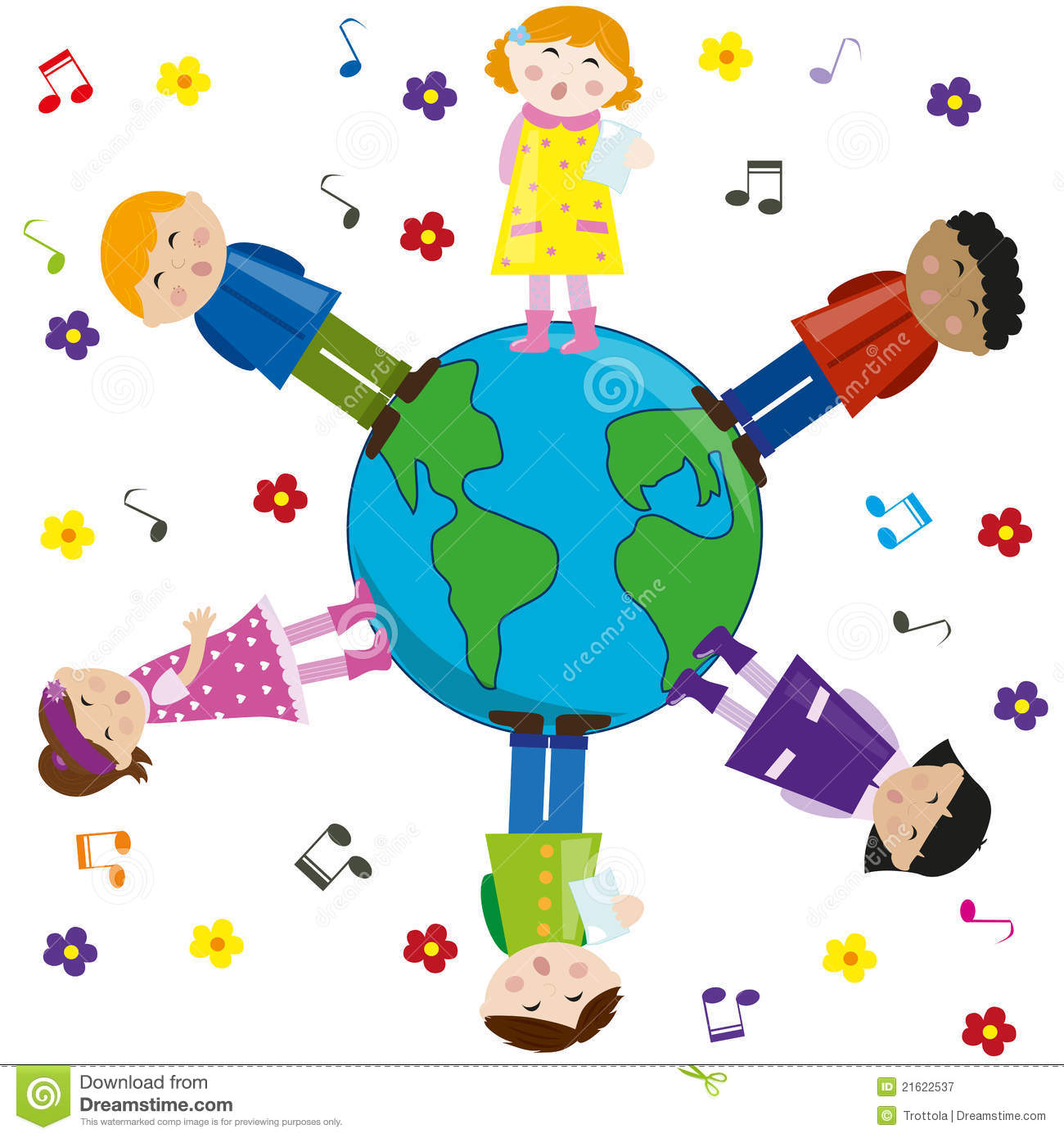 Kids Singing For Peace. Vector. Royalty Free Stock Photography - Image ...