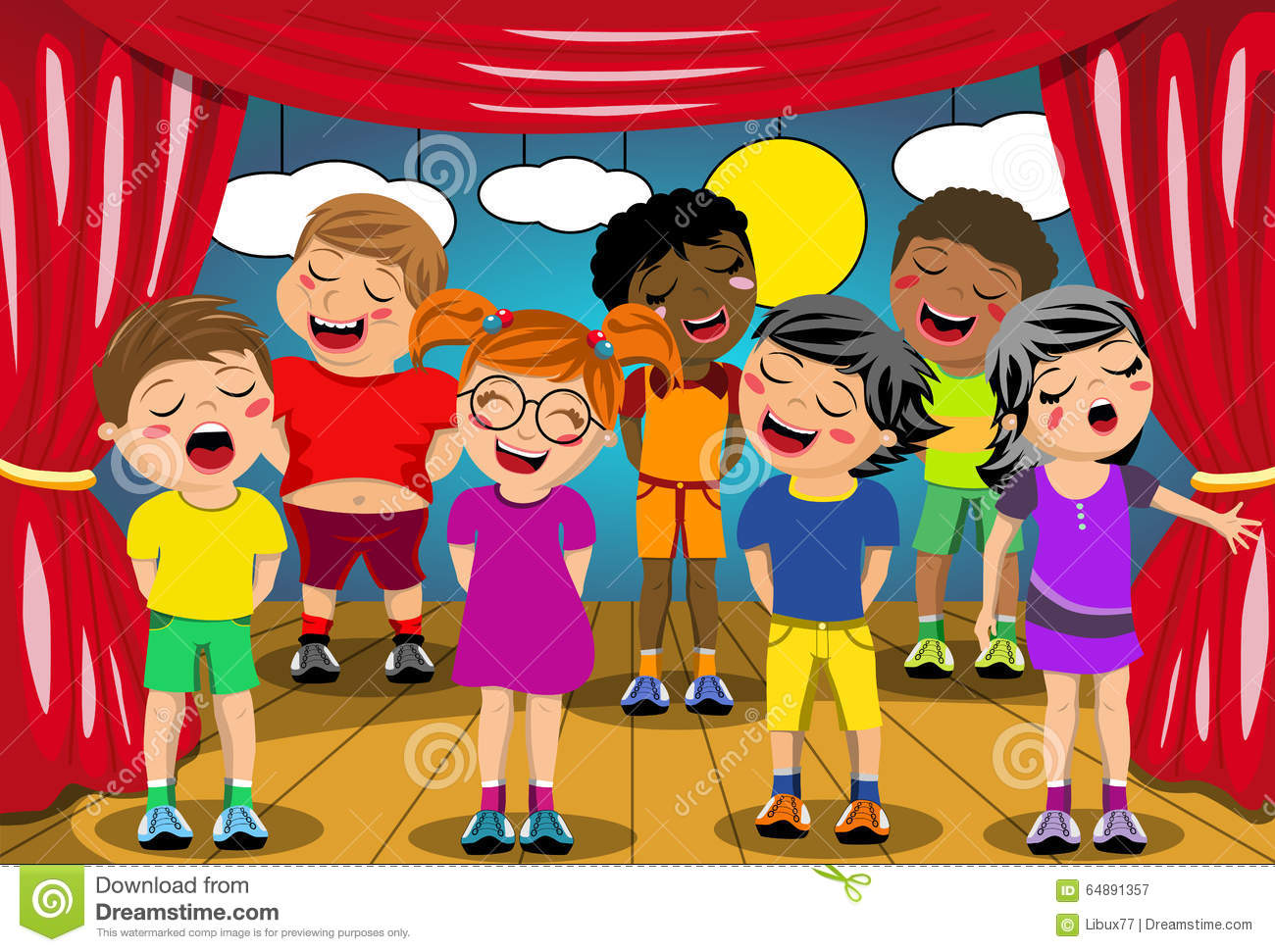 Kids Singing Stage School Play Stock Vector - Image: 64891357