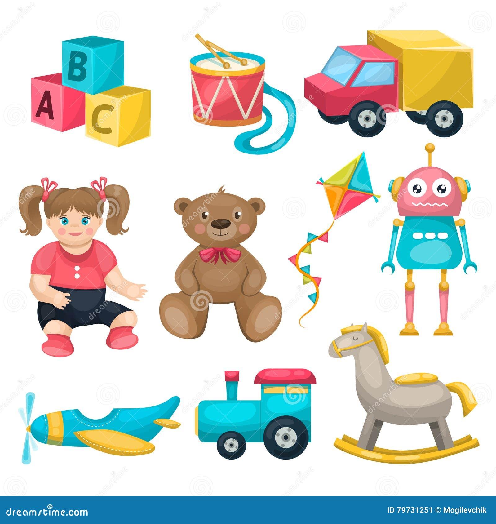 Line Art Cartoon Toys Vector : Kids single toys set cartoon vector cartoondealer