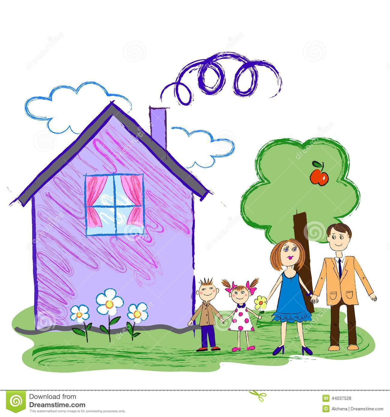 Kids sketch of happy family with house stock vector for House pictures for kids