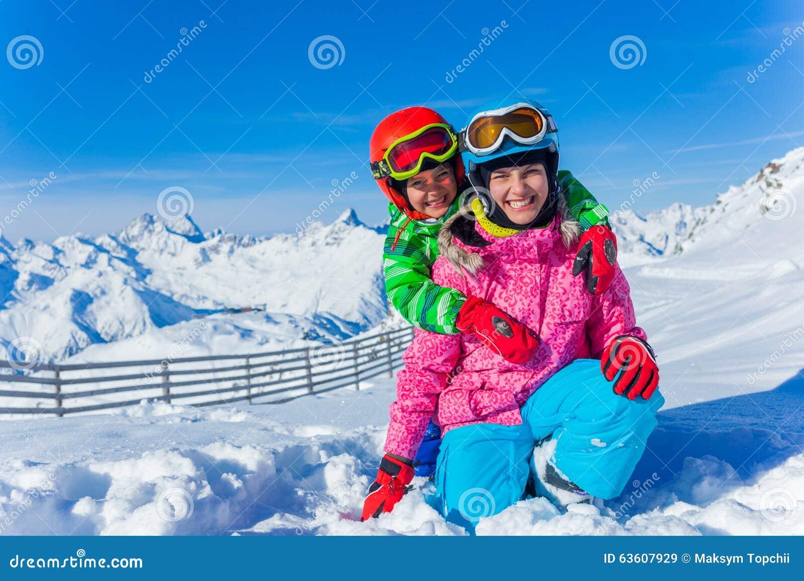 Kids at ski resort