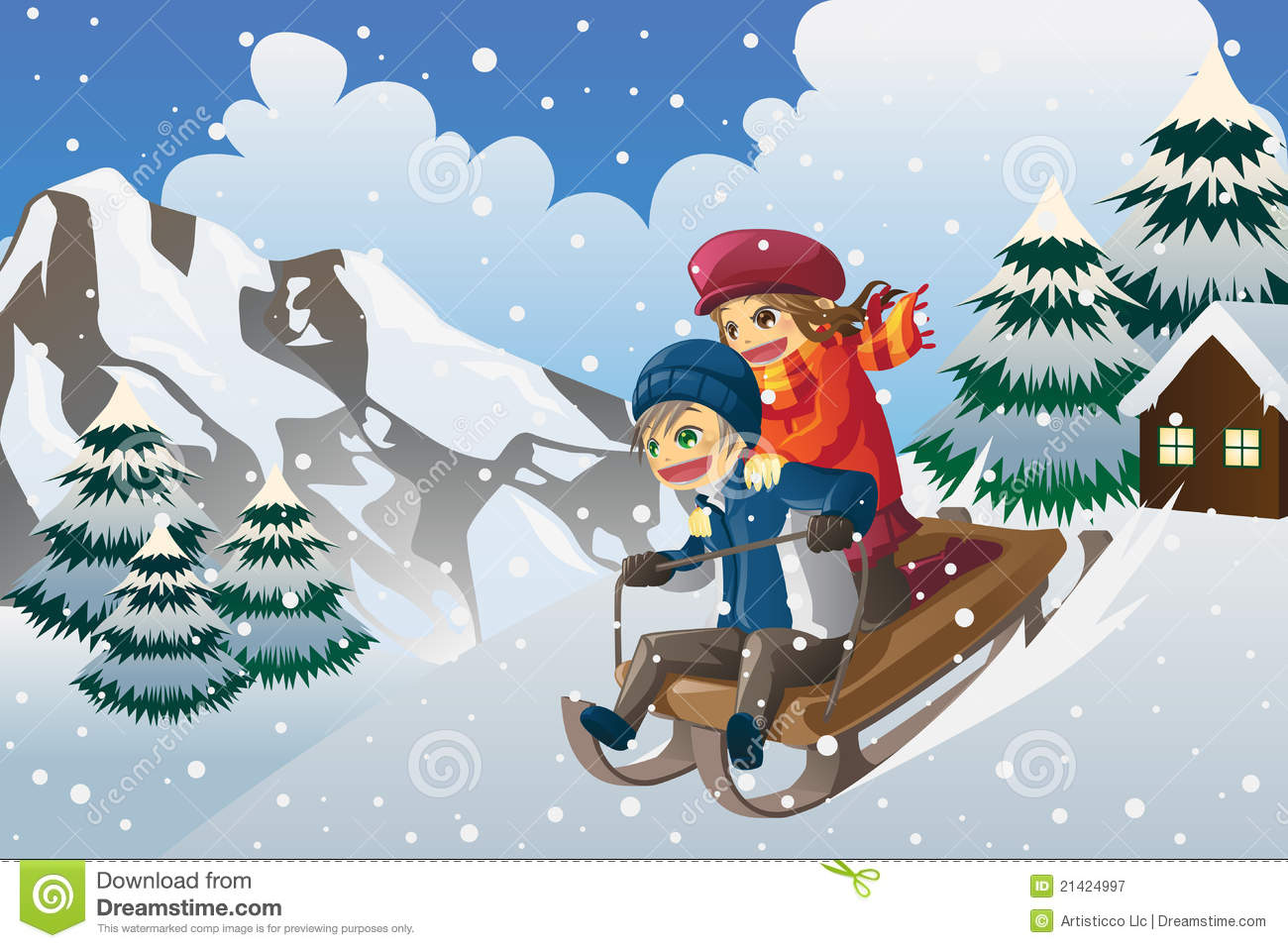 Kids Sledding In The Snow Stock Vector Illustration Of Drawing 21424997