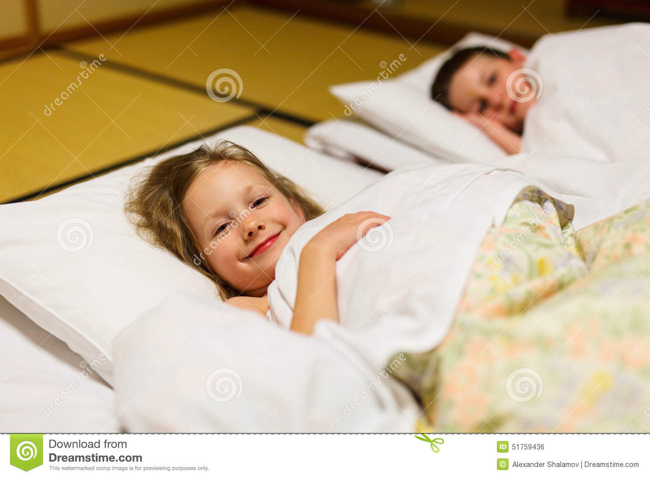Kids Sleeping In Japanese Room Stock Photo Image Of