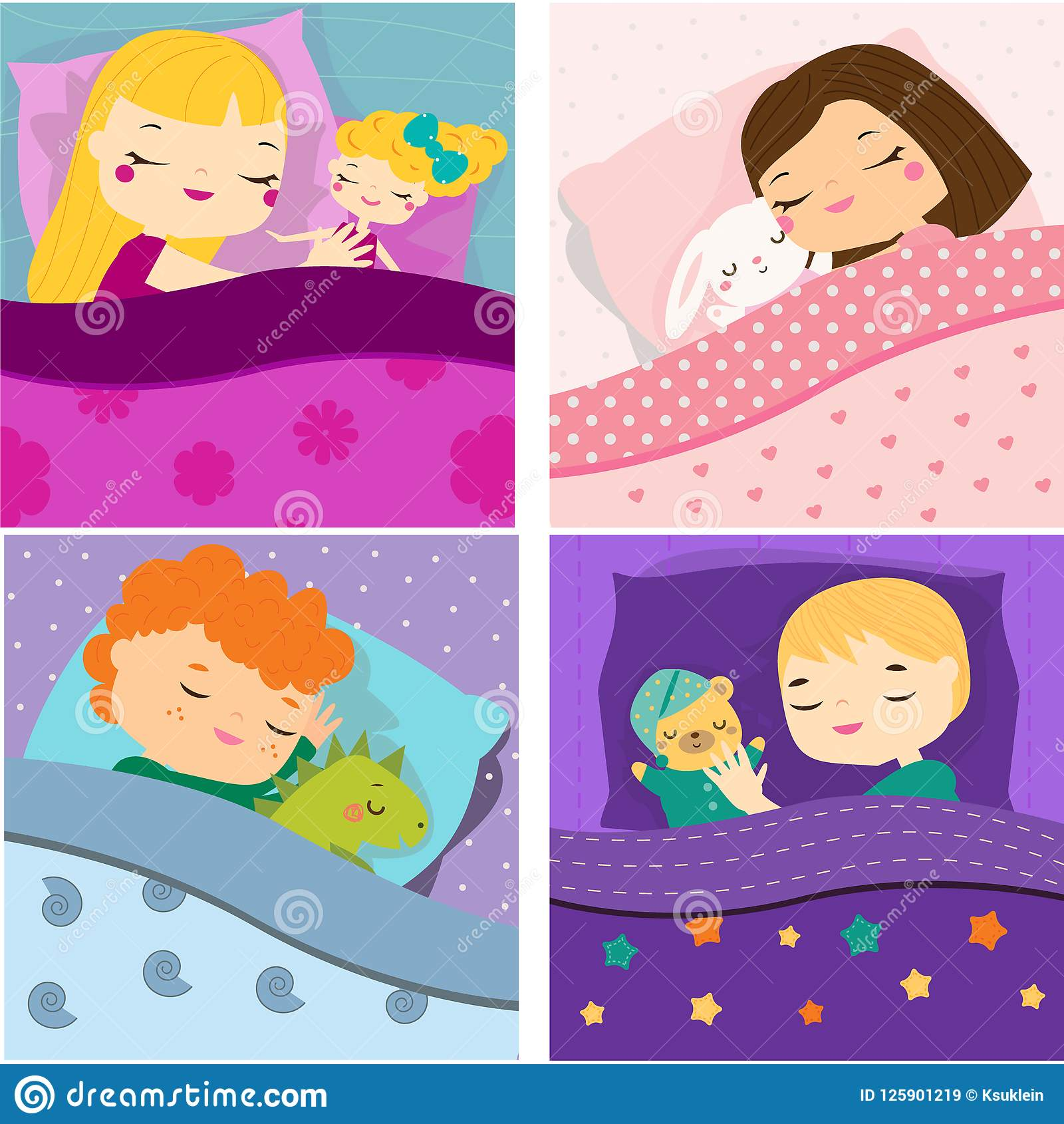 Kids sleeping with toys cartoon children in bed having sweet dreams boys and girls