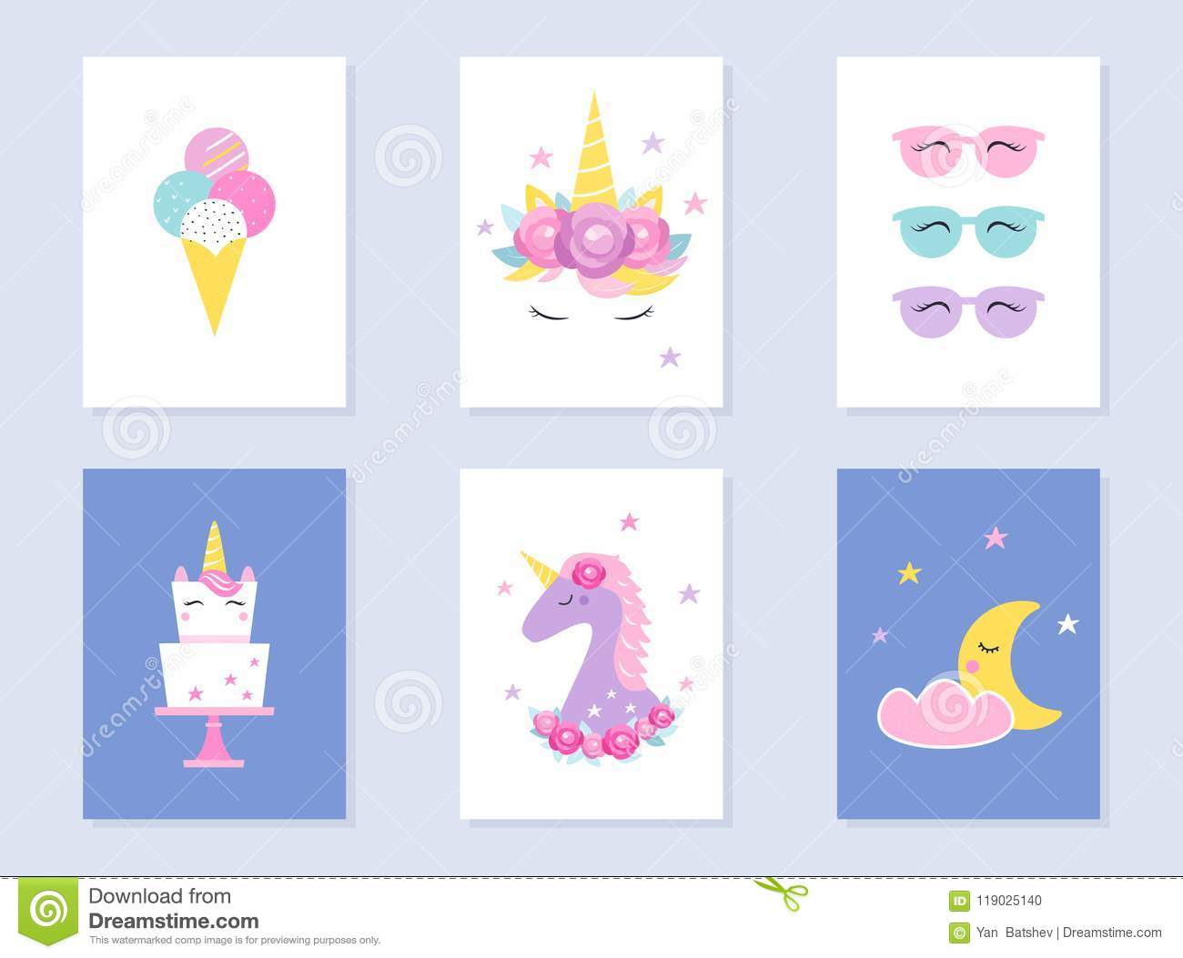 Kids Slumber And Summer Party Invites. Unicorns And Moon. Vector ...