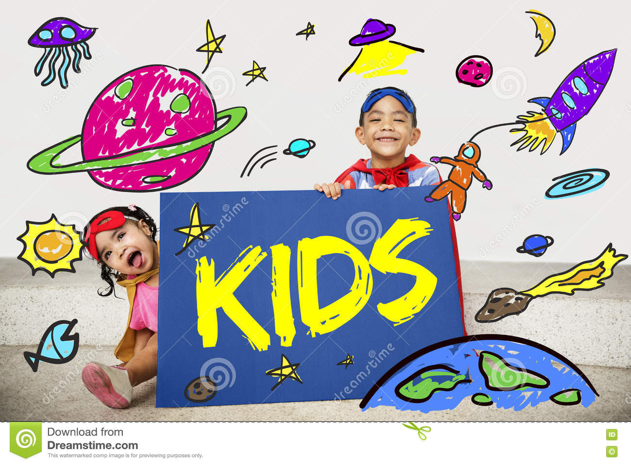 kids space rocket planet graphic concept stock photo image 76826138