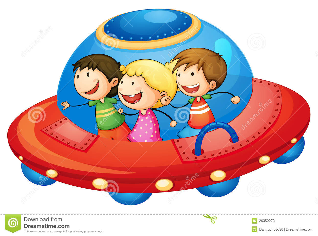 Illustration of a kids in spaceship on white background.